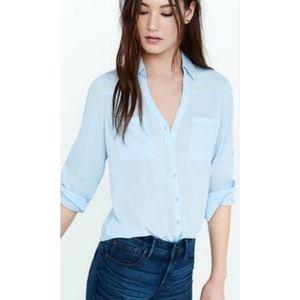 Express Portofino Button Down Shirt Light Blue L